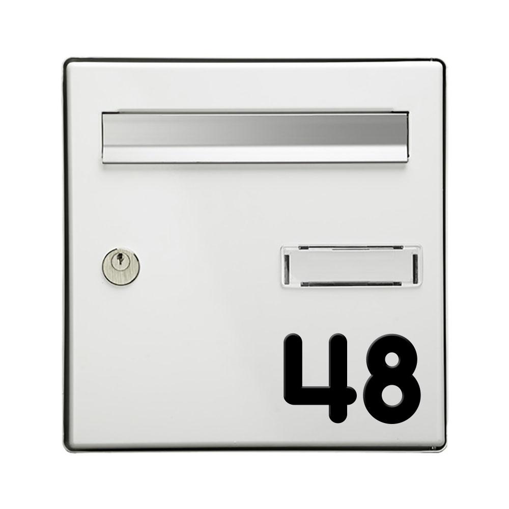 Chiffre adhésif numéro de rue pour boite aux lettres - Hauteur 5 cm - Modèle MONOROUND