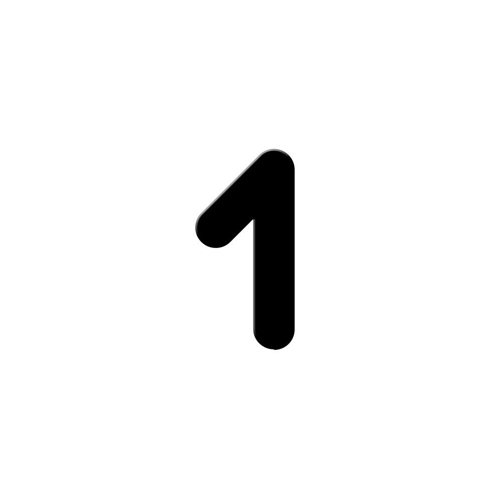 Chiffre adhésif numéro de rue pour boite aux lettres - Hauteur 7 cm - Modèle MONOROUND
