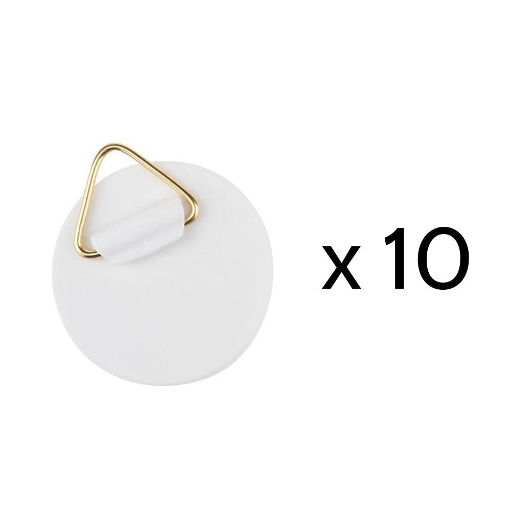 Lot de 10 attaches rondes adhésives avec crochet pour suspension de cadres tableaux - Diamètre 40 mm - Charge 800gr