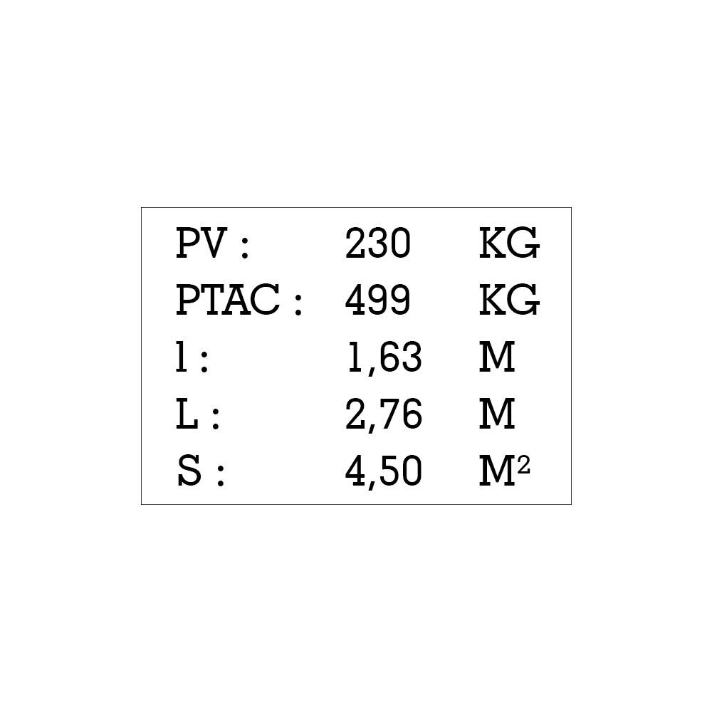 Plaque de tare blanche texte noir pour remorque caravane utilitaire - Marquage gravure laser - Plaque constructeur