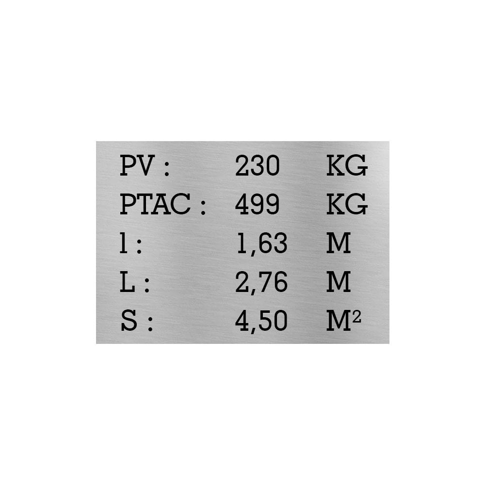 Plaque de tare argent texte noir pour remorque caravane utilitaire - Marquage gravure laser - Plaque constructeur