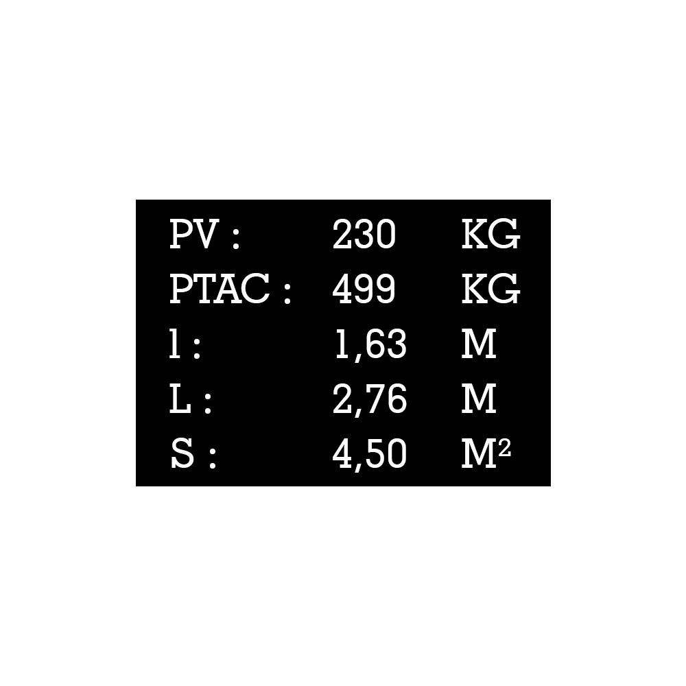 Plaque de tare noir texte blanc pour remorque caravane utilitaire - Marquage gravure laser - Plaque constructeur