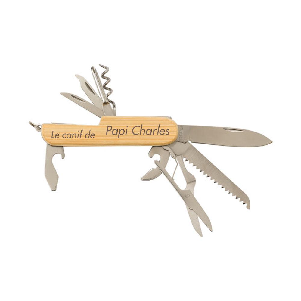 Canif multi-fonction couteau suisse bambou personnalisé pour cadeau anniversaire Noel mariage