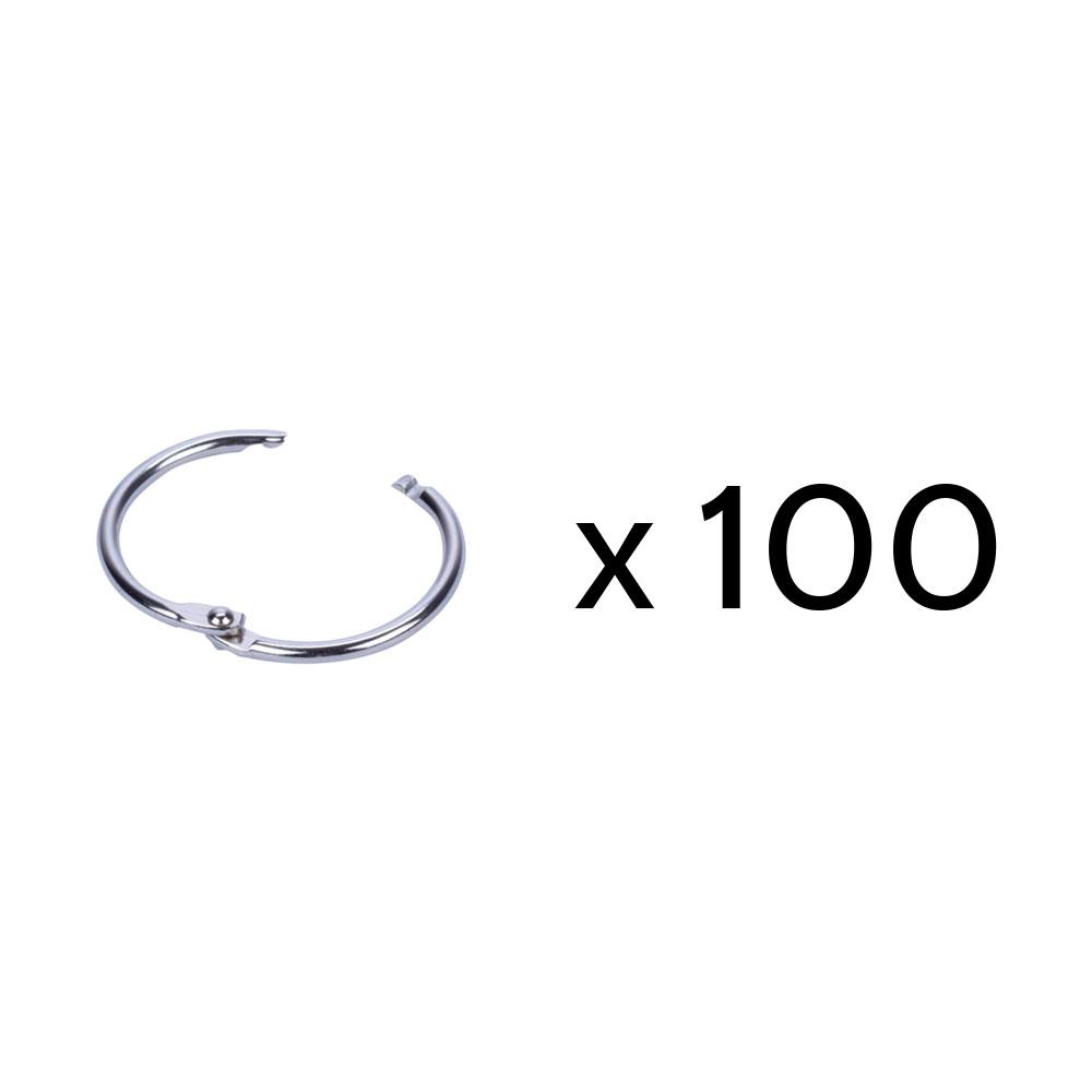 Lot de 100 anneaux brisés en métal - Diamètre 38 mm