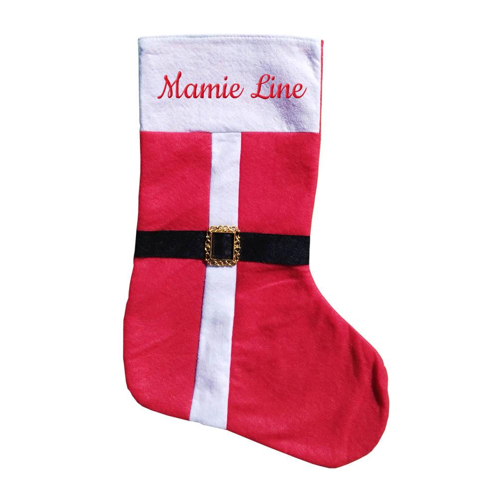 Botte de Noel chaussette cheminée personnalisée avec un prénom - Botte cadeau Noel en feutrine