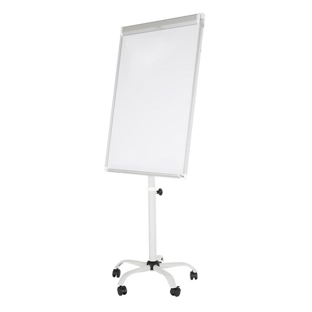 Tableau blanc effaçable et magnétique format 70 x 100 cm - Chevalet conférence mobile à roulettes