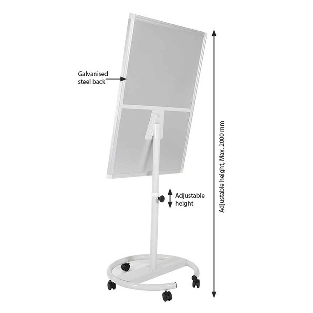 Chevalet tableau blanc effaçable et magnétique format B1 (70 x 100 cm) - Chevalet conférence réunion à roulettes