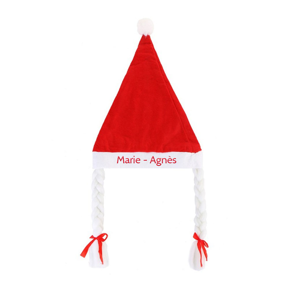 Bonnet chapeau Mère Noël avec tresses à personnaliser avec un prénom - Déguisement Noël