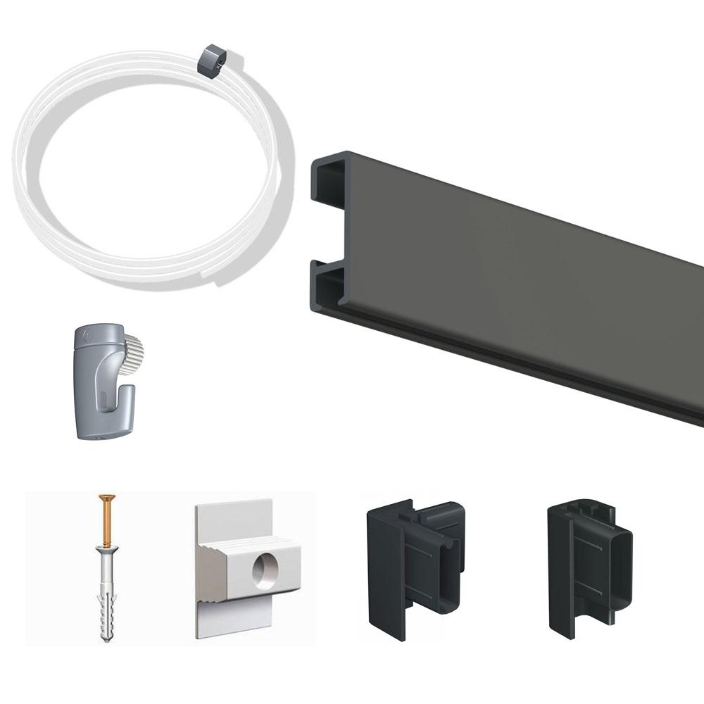 Pack Eco 2 mètres de cimaise Click Rail couleur Noir - Solution suspension cadres et tableaux