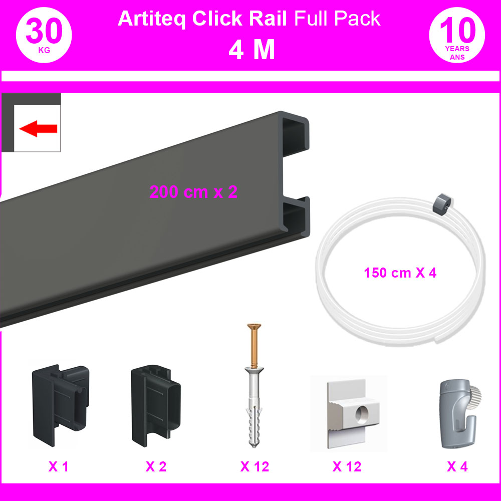 Pack Eco 4 mètres de cimaise Click Rail couleur Noir - Solution suspension cadres et tableaux