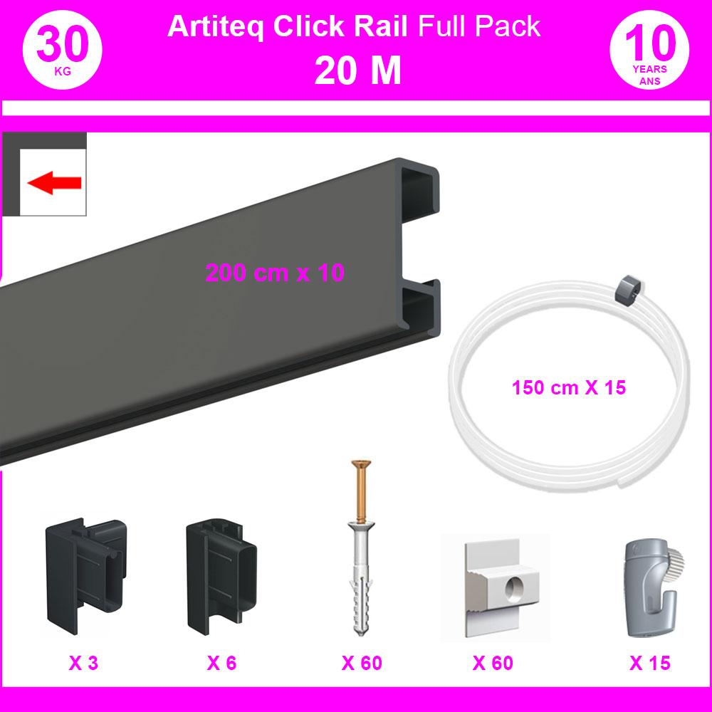Pack Eco 20 mètres de cimaise Click Rail couleur Noir - Solution suspension cadres et tableaux