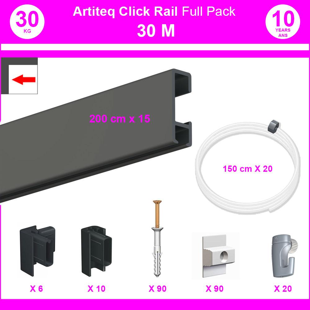 Pack Eco 30 mètres de cimaise Click Rail couleur Noir - Solution suspension cadres et tableaux