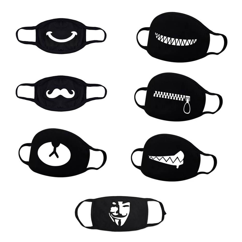 Lot de 7 masques de protection lavables et réutilisables pour adulte - Masques emoji smiley mignon couleur noirs