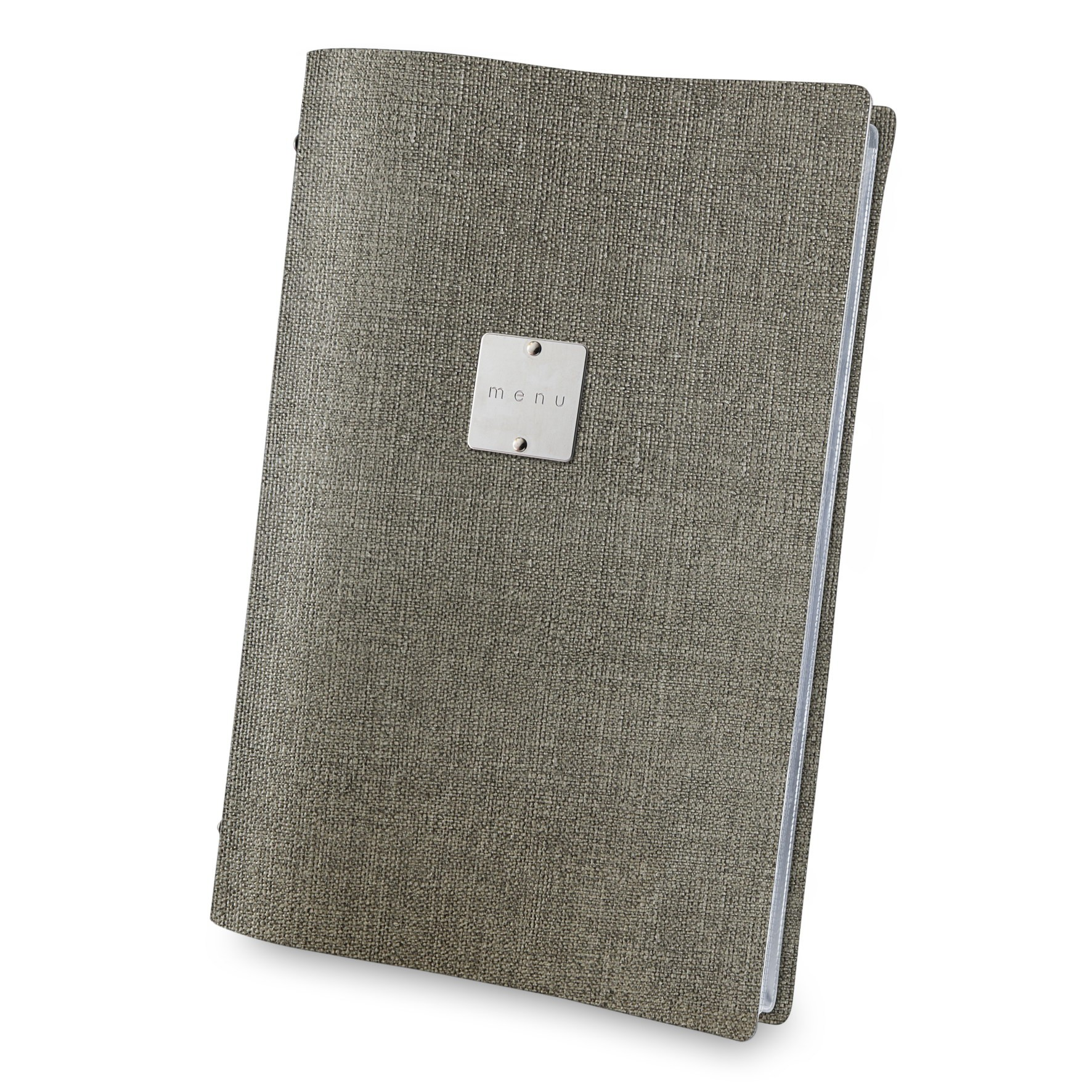 PVC menu cover in grey jute look